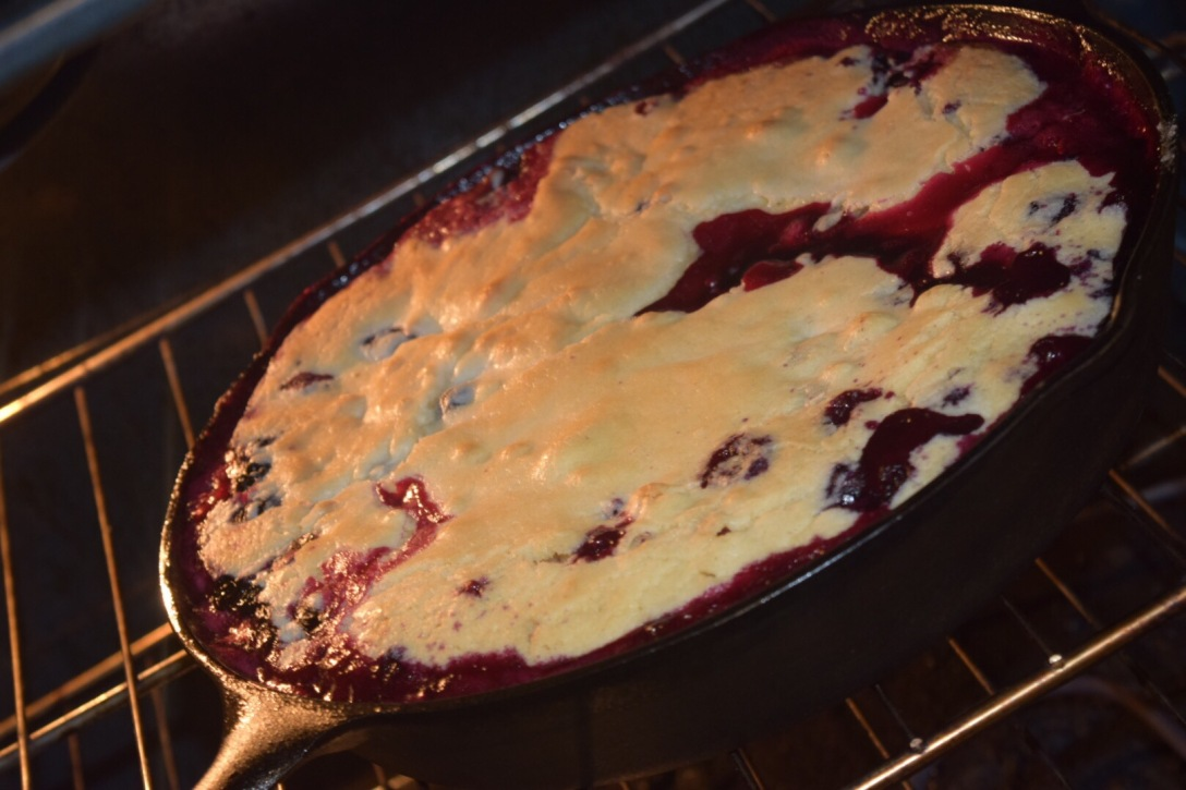 Blueberry Cobbler Baking