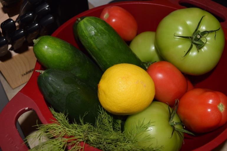 Cucumebr Salad Prep